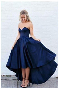 New Arrival Simple Sweetheart Strapless Dark Navy Blue High-low Prom Dress