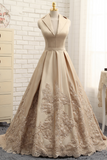A-line V-neck Cap Sleeves Satin Appliques Lace Prom Gown Long Formal Evening Dresses