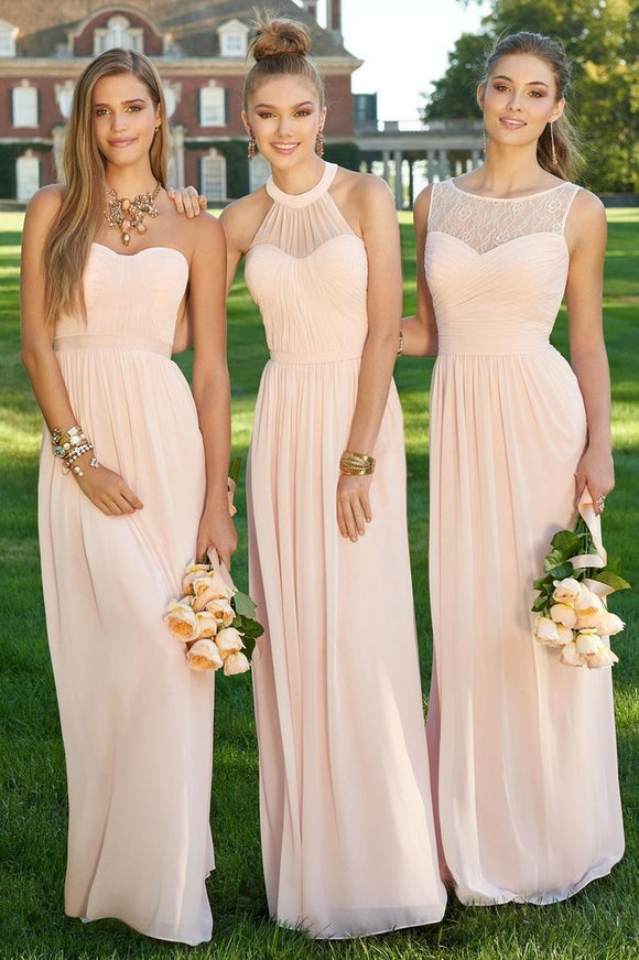 Simple Chiffon Blush Pink A Line Floor-Length Cheap Bridesmaid Dresses PFB0010