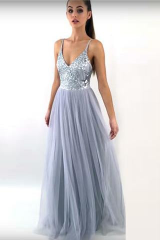 Charming A Line Spaghetti Straps V Neck Long Grey Tulle Prom Dresses PFP0840