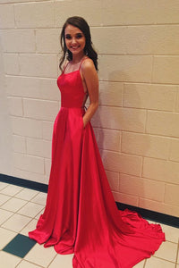Red Spaghetti Strap Prom Dress with Pockets Sexy Long Split Party Dresses PFP0456