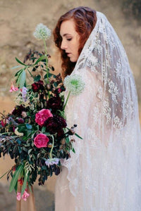 All Over Lace Unique Mantilla Church Bridal Veil
