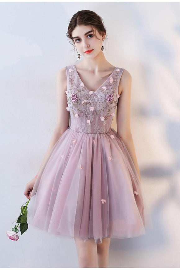 Pink A Line V Neck Flowers Short Homecoming Dresses,Mini School Dress PFH0098