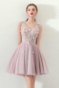 A Line V Neck Flowers Short Homecoming Dresses,Graduation Dress PFH0099