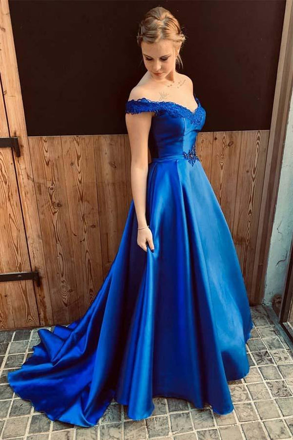 Royal Blue A Line Appliques Satin Charming Prom Dresses