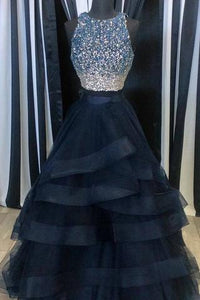 Scoop Neck Tulle Crystals Women Charming Layer Prom Dresses For Woman PFP0852