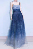 A-line Spaghetti Strap Sleeveless Royal Blue Tulle Sequins Modest Long Prom Dress PFP0857