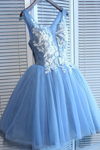 Blue Tulle A Line Lace Appliques Short Homecoming Dresses PFH0109