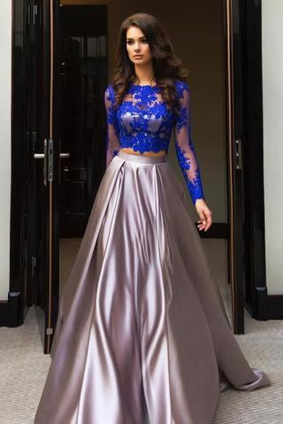 A Line Royal Blue Two Piece Long Sleeve Lace Top Prom Dresses PFP0859