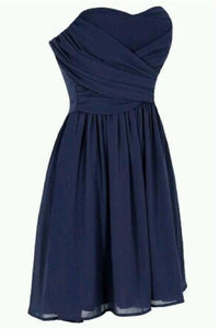 Simple Navy Blue Short Chiffon Homecoming Dress Bridesmaid Dress PFB0075