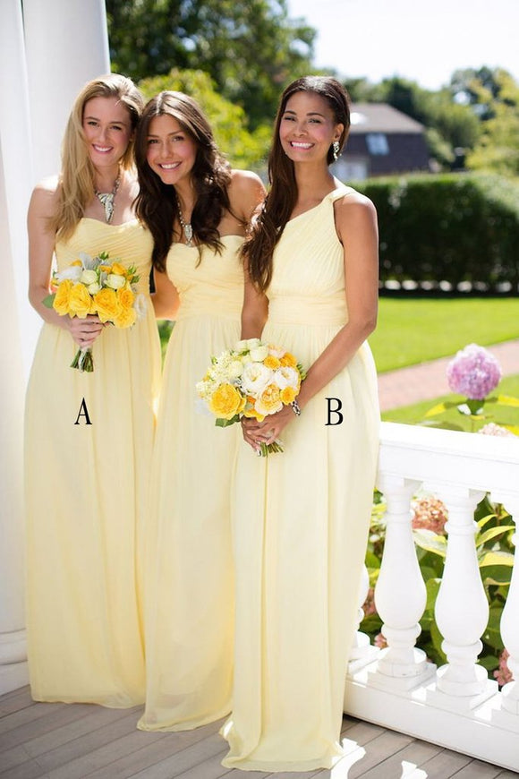 2019 Beautiful Daffodil A-line Long Chiffon Bridesmaid Dresses PFB0077
