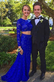 Elegant Sheath Scoop Neck Lace Beading Royal Blue Long Sleeve Two Piece Prom Dresses PFP0862