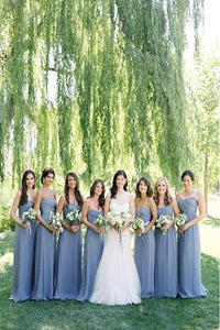 2019 Pretty A-line Long Sweetheart Simple Cheap Chiffon Bridesmaid Dresses PFB0079