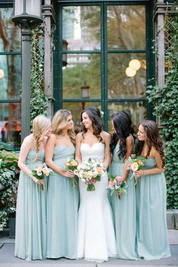 2019 Pretty High Low Sweetheart Long Simple Mint Bridesmaid Dresses PFB0080