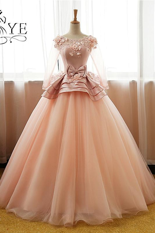 Vintage Flower Long Sleeves Puffy Tulle Long Prom Dress,Quinceanera Dresses PFP0865