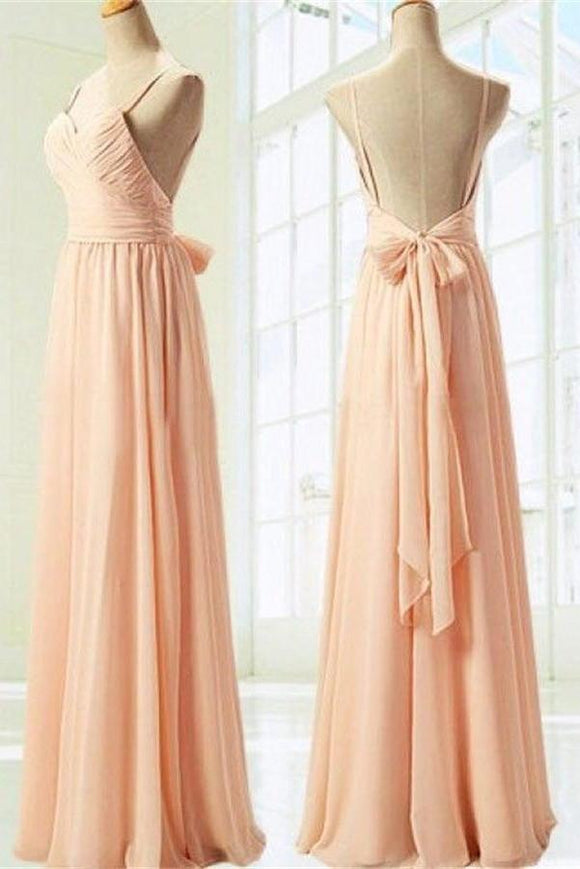 Simple Spaghetti Straps Long Chiffon Backless Bridesmaid Dresses with Bow PFB0084