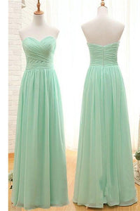 Simple Sweetheart Long Chiffon Mint Green Bridesmaid Prom Dresses PFB0085