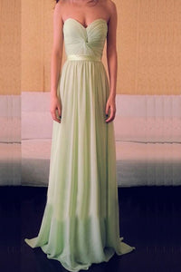 Teal Long Chiffon Sweetheart Simple Backless Prom Dresses PFB0086
