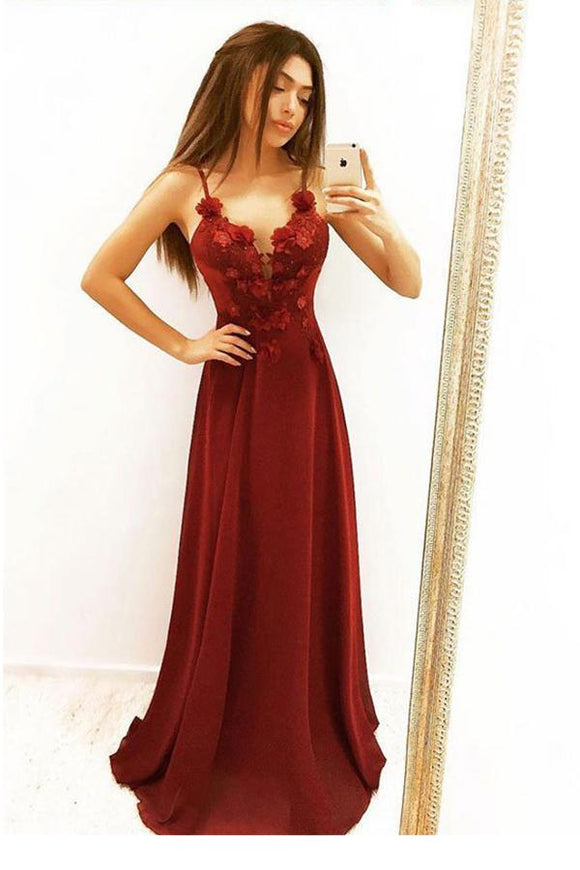 A Line Spaghetti Straps Flowers Burgundy Long Prom Dresses