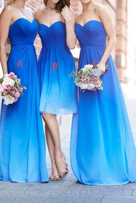 Simple A-line Royal Blue Ombre Sweetheart Chiffon Bridesmaid Dresses PFB0013