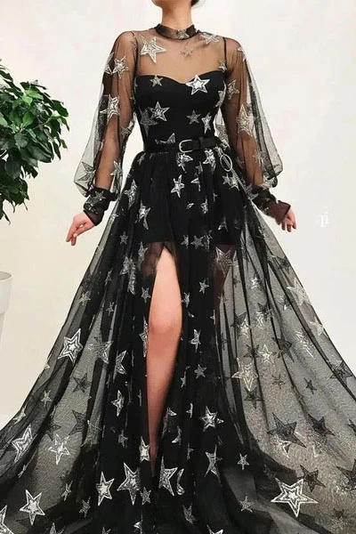 Promfast Popular Black Illusion Star Printed Long Sleeves Tulle A-Line Prom Dresses PFP1836
