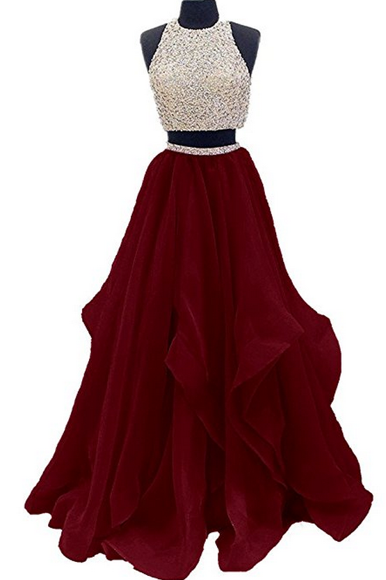 Two Piece Floor Length Burgundy Prom Dress Beaded Open Back Evening Gown PFP0870