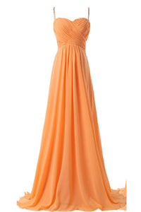 Spaghetti Straps Simple Modest Orange Backless Cheap Prom Dresses For Teens PFB0091