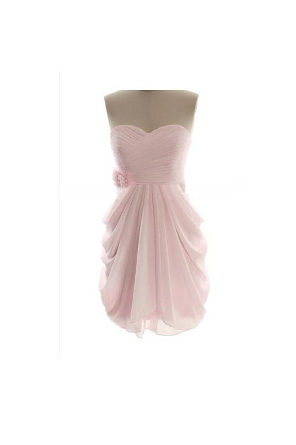 Short Simple Cheap Chiffon Pink Sweetheart Bridesmaid Dresses PFB0092