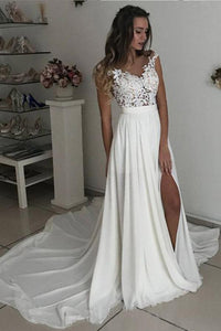 Off White Long Chiffon Cap Sleeves Split Wedding Dresses With Lace PFW0103