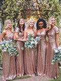 Mismatched Rose Gold A Line Sequin Long Bridesmaid Dresses PFB0014