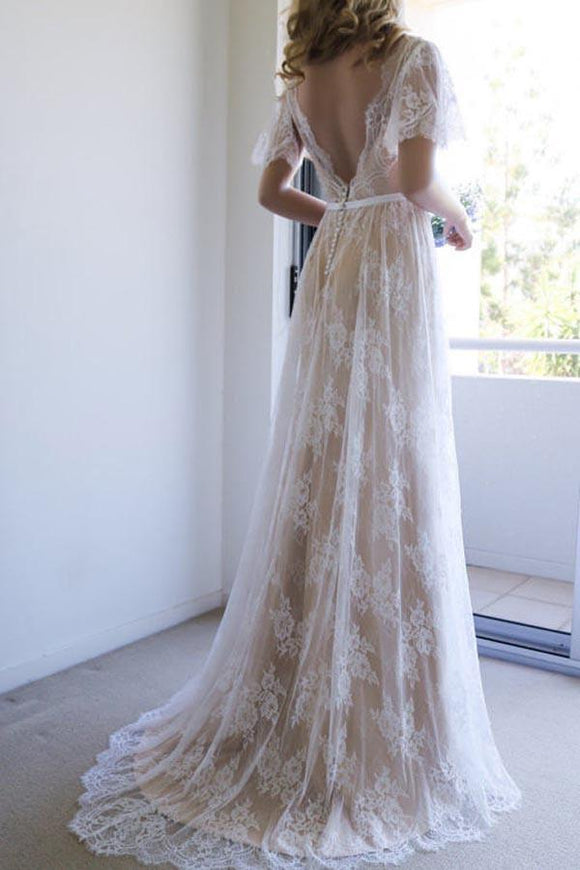 Romantic A-line Backless Lace Short Sleeves V Neck Long Wedding Dress PFW0104