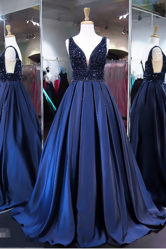Unique Royal Blue A Line V Neck Sleeveless Long Prom Dress PFP0872