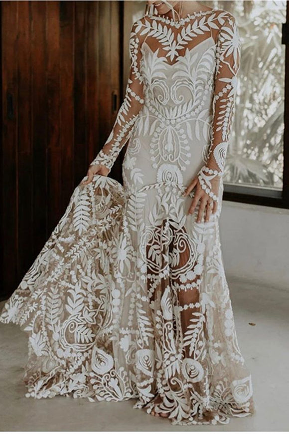 Promfast See through white appliqué print wedding dress, Nude slip underneath wedding gown PFW0494