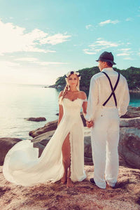 Casual Chiffon Off the Shoulder Long Off White Beach Wedding Dresses With Lace PFW0106
