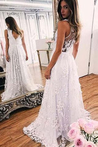 A-line White Lace V-neck Sleeveless Evening Prom Dresses With Sweep Train PFP0875