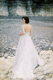 Ivory Long Lace Spaghetti Straps Sweep/Brush Train Beach Wedding Dress Bridal Gown PFW0109