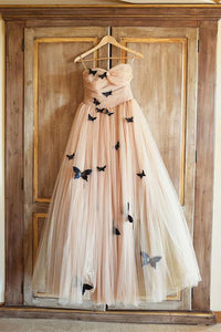 Beautiful Long Butterfly Sweetheart Ruffles Wedding Dresses Bridal Gown PFW0110
