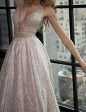 Modest A-line Silver Tulle V-Neck Rhinestone Prom Evening Dress Party Dress PFP0878