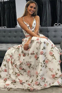 A Line V Neck Spaghetti Straps Floral Long Prom Dresses,Junior Graduation Dress PFP0508