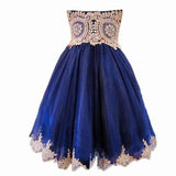 A Line Short Blue Gold Lace Appliques Prom Dresses Homecoming Dresses PFH0005