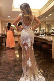 Sheath Scoop Tulle Long Backless Prom Dress With White Lace Appliques PFP0880