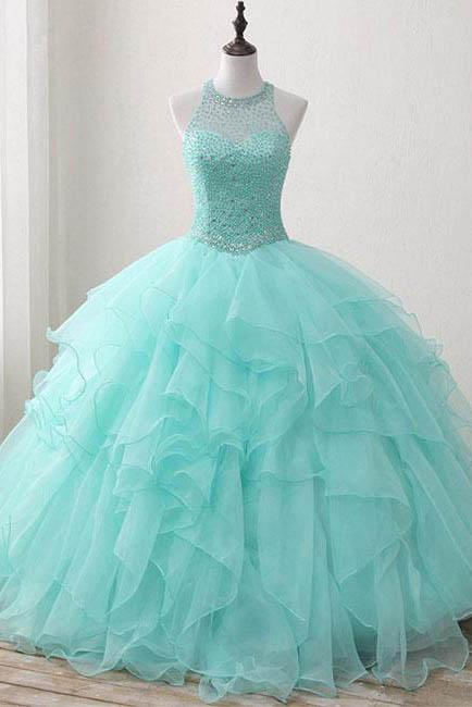 Ball Gown Long Beading Prom Dresses Cheap Formal Women Prom Dresses,Quinceanera Dress PFP0882