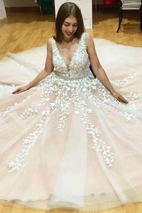 Elegant A-Line V-Neck Long Tulle Backless Wedding Dress with Beading Appliques PFP0883