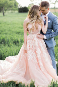 Blush Pink Long Tulle Appliques Wedding Dress With Cathedral Train,Prom Dresses PFW0111