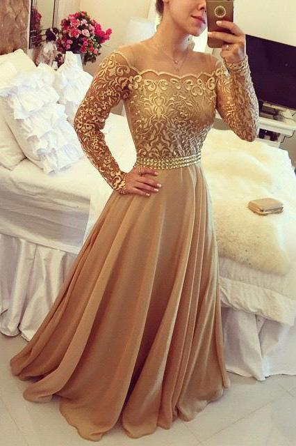 2019 Golden Off Shoulder Long Sleeve Chiffon A Line Party Prom Dresses For Women PFP0885