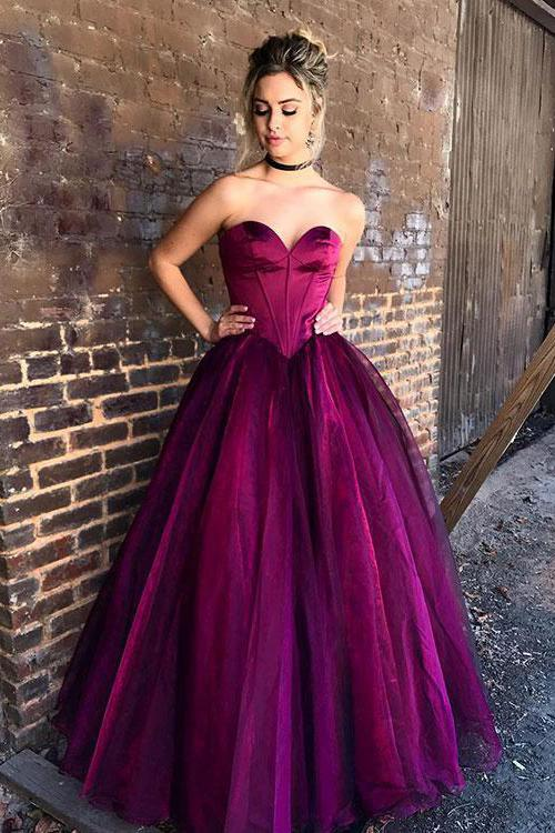 Stylish Sweetheart Purple Tulle Long Prom Dress,Formal Evening Dresses,Ball Gown Prom Dresses PFP0886