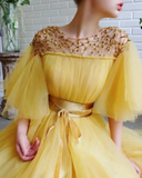Promfast Modest Yellow Short Sleeves Long Prom Dresses A Line Tulle Evening Gown PFP1839