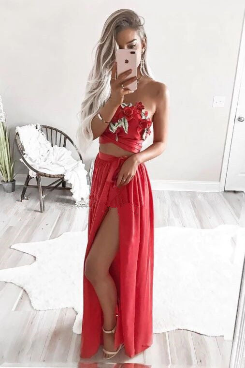 Two Piece Strapless Floor-Length Red Chiffon Prom Dress with Appliques PFP1639