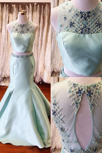 Two Pieces Long Mermaid Satin Prom Dresses For Teens,Beading Mint Backless Prom Gowns PFP0890