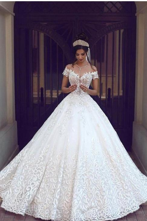 Off the Shoulder Short Sleeve Lace Ball Gown Wedding Dress PFW0115